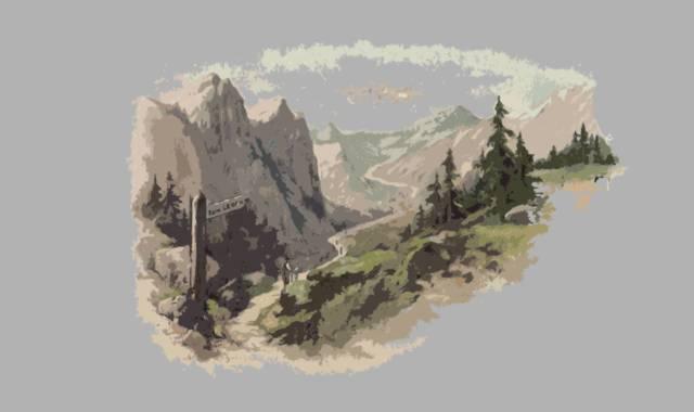 Gebirge und Wegweiser