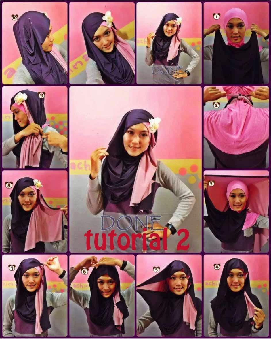 Tutorial Hijab Pesta Segi Empat Kombinasi