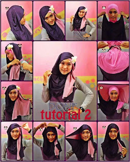 Tutorial Hijab 2 Warna Modis