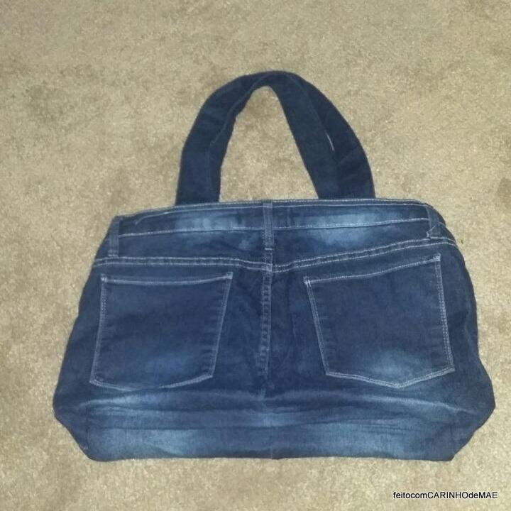 Feito Com Carinho De Mãe Sobre A Bolsa Feita Com Calça Jeans