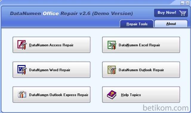 memulihkan file word dengan datanumen office
