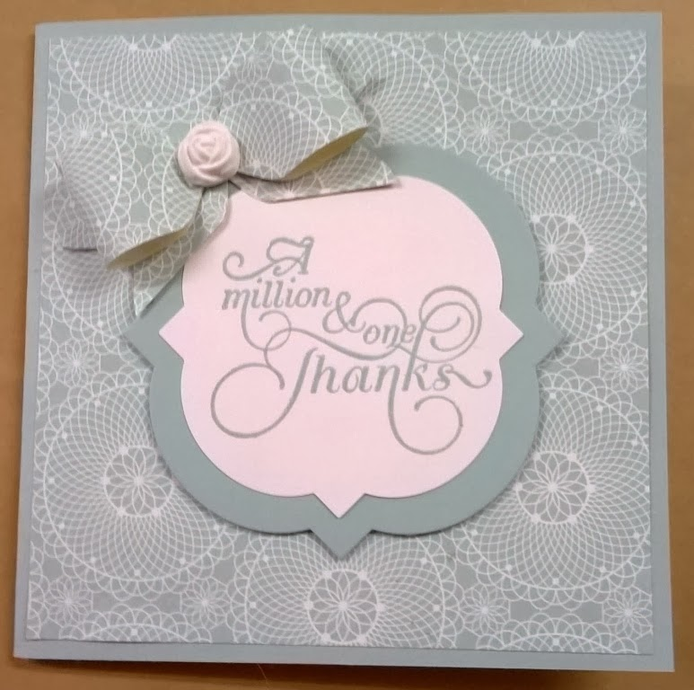 Thanks a millian card and envelope punch board bow by zena kennedy stampin up independent demonstrator