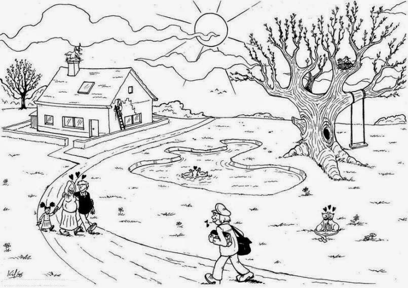 Sketsa mewarnai gambar pemandangan alam - Dunia Putra Putri