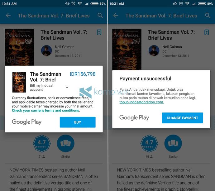pembelian gagal buku aplikasi android