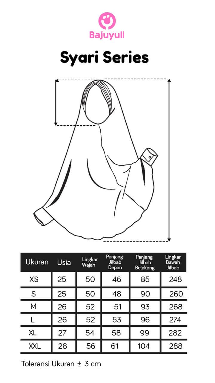 Size chart jilbab anak syari Bajuyuli