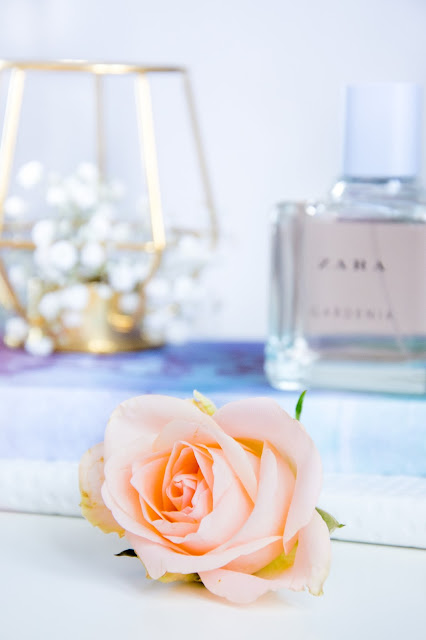 Zara Gardenia Perfume; Ikea Geometric Candle Holder; Hema Pastel Notebook; Zoella Notebook; Fresh Roses