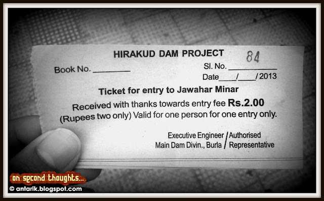 Ticket, Jawahar Minar, Hirakud Dam, longest dam in the world
