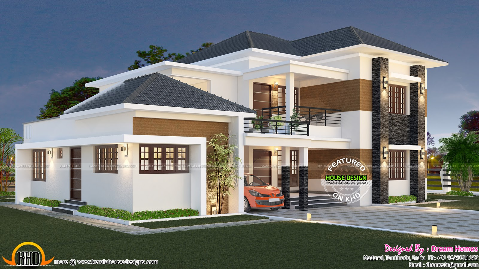 Elegant south indian villa kerala home design and floor for Modern house designs and floor plans in india