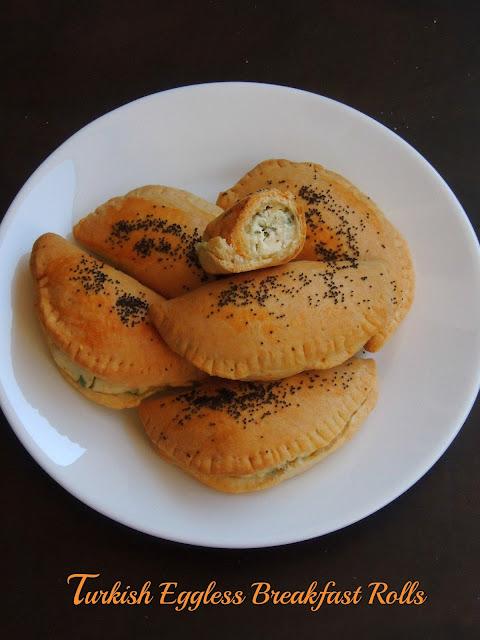 Turkish Eggless Breakfast Rolls