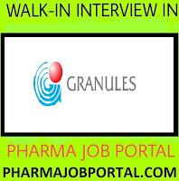 Granules India Limited Walk In Interviews For B.Pharm,M.Pharm,B.Sc ,M.Sc at 12 & 13  July