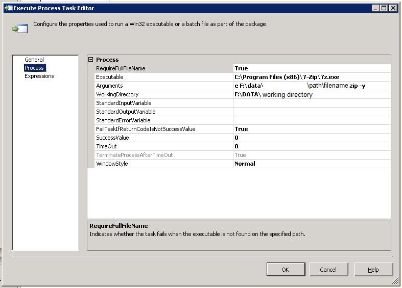 MiscSQL: SSIS unzip files using 7Zip