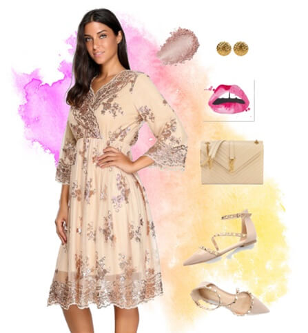 Champagne Floral Sequins Scallop-Hem Mesh Dress | Lookbook Store