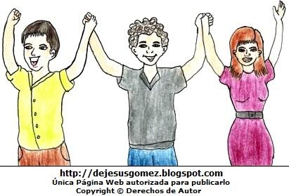 Dibujo de personas jóvenes levantando las manos y pintado a colores. Dibujo de ersonas levantando la mano de Jesus Gómez
