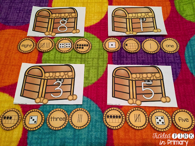 Matching Tally Marks, Dice, Number Words - Number Sense