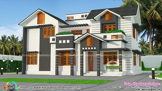 2395 sq-ft 4 bedroom modern sloping roof house