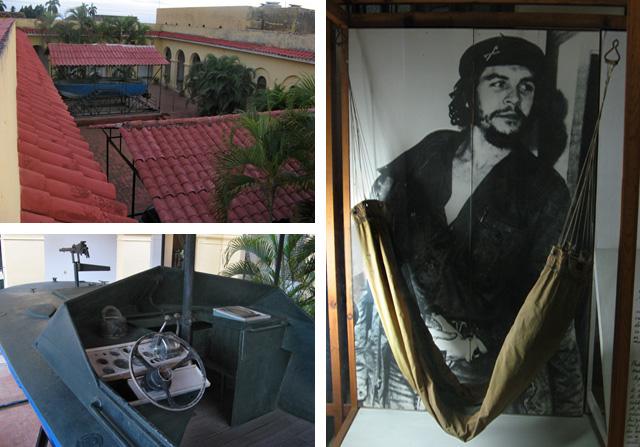 A la izda., la lancha 'pirata' de los bandidos; a la dcha., imagen del Ché y su hamaca