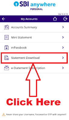 sbi anywhere app pdf statement download