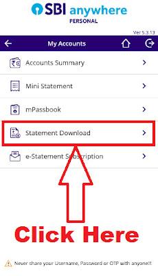 sbi anywhere app pdf statement download