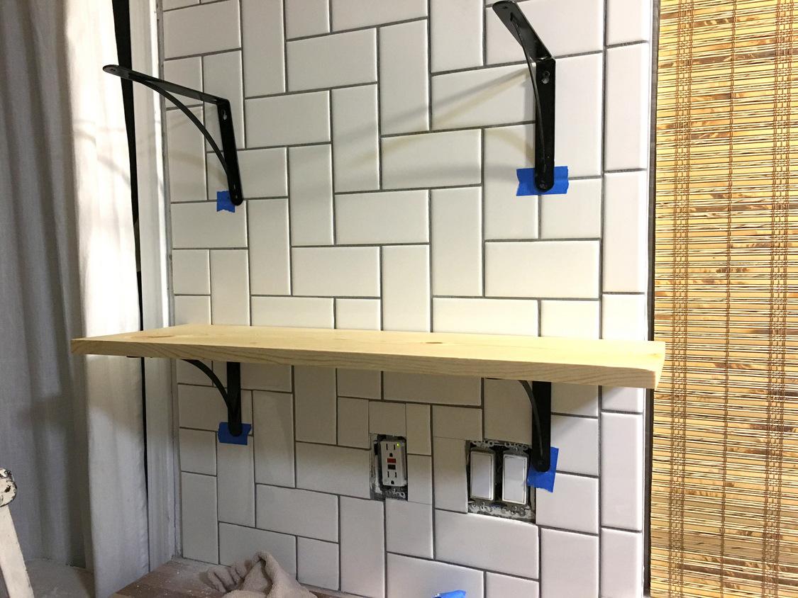 kitchen shelves over tile