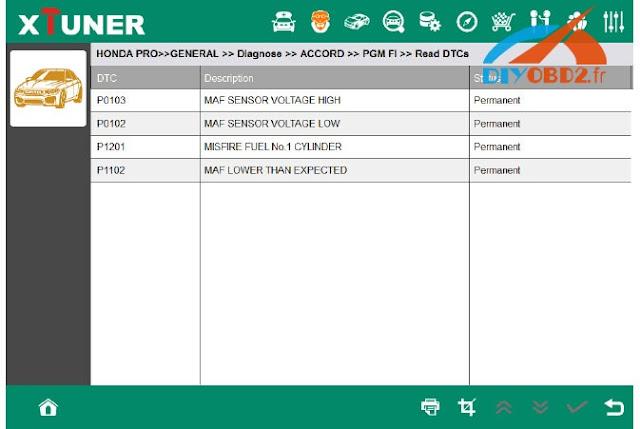 Xtuner-E3 wifi diagnosis OK on Honda Accord   diyobd2 car diagnostic