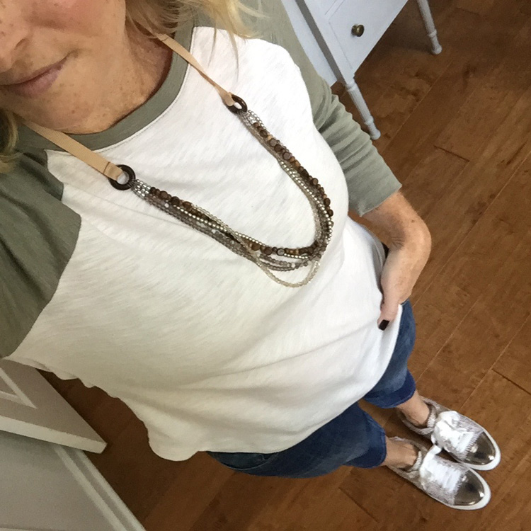 baseball tee with multistrand necklace