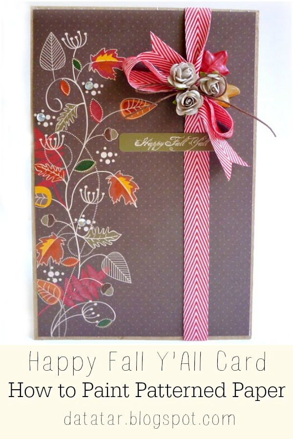 Brown Fall Card with Painted Leaves in Orange and Red