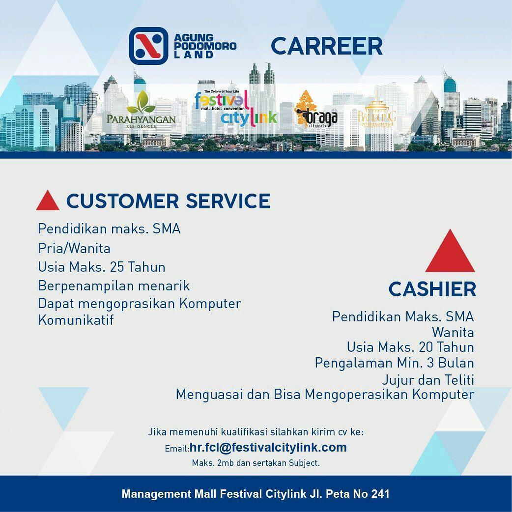 Lowongan Kerja Festival City Link Bandung Januari 2018