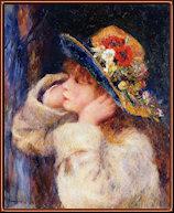 Joven con sombrero con flores silvestres. Renoir