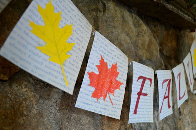 Book Page Banner Decoration For Fall on mantel