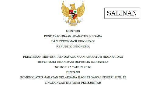 Permenpan RB Nomor 25 tahun 2016 Tentang Nomenklatur Jabatan Pelaksana Bagi PNS Di Lingkungan Instansi Pemerintah