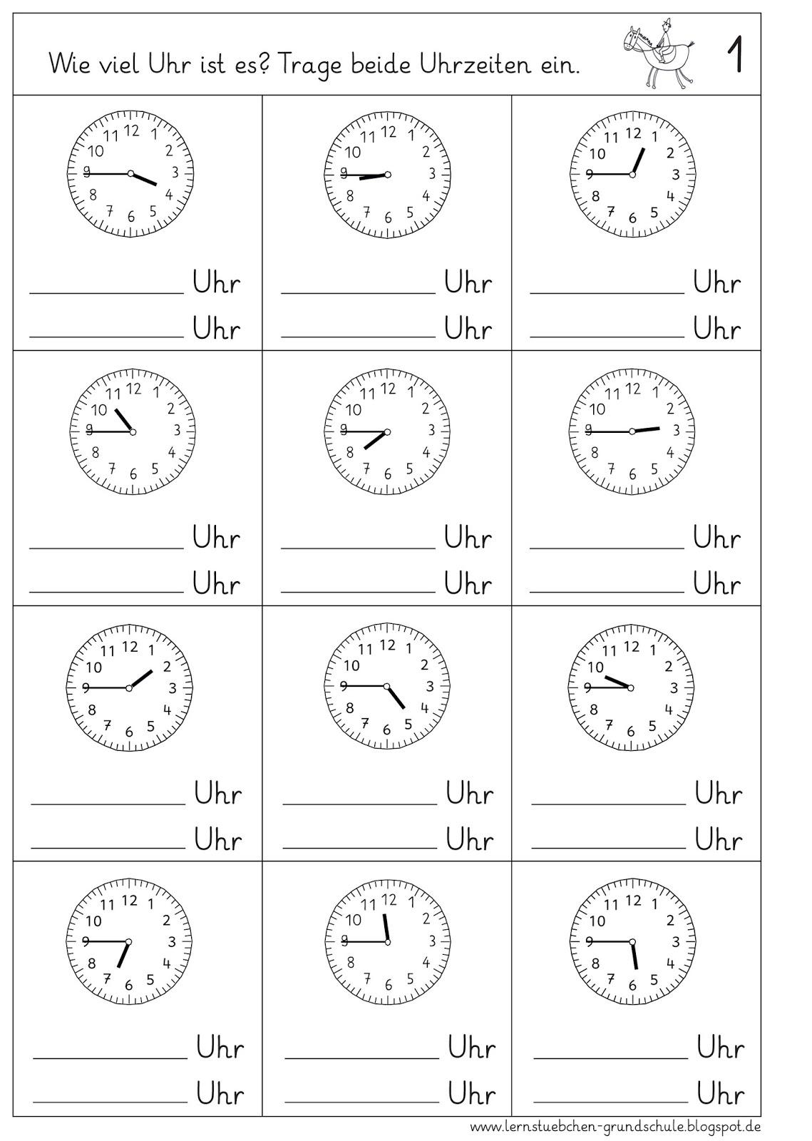 Lernstubchen Uhrzeiten Ablesen