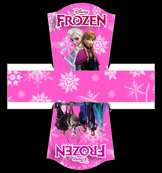 Frozen en Rosa: Caja abierta para caramelos o pastelitos.