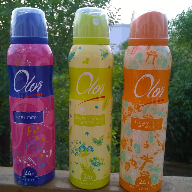 Olor 24Hr protection Deodrant in Melody, Gorgeous Green and Playful Peach