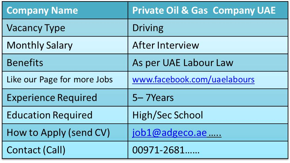 We UAE Labours offering Free New Jobs inwards Dubai to our visitors Across Globe Appointing Drivers for UAE