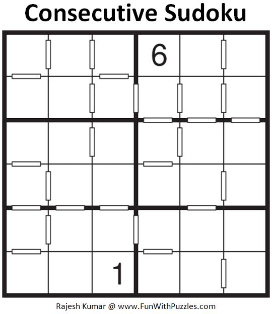 Consecutive Sudoku Puzzle (Mini Sudoku Series #117)