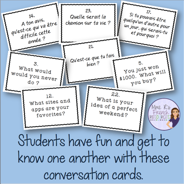 Conversation cards for the first day of school are a great way to get to know students in a relaxed, yet productive way.