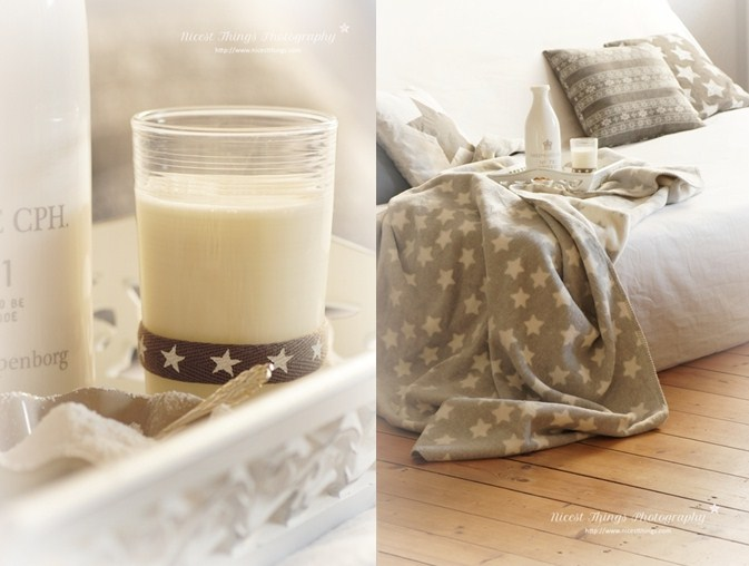 Milcglas mit Sternendeko und Bellybutton Kuscheldecke mit Sternen