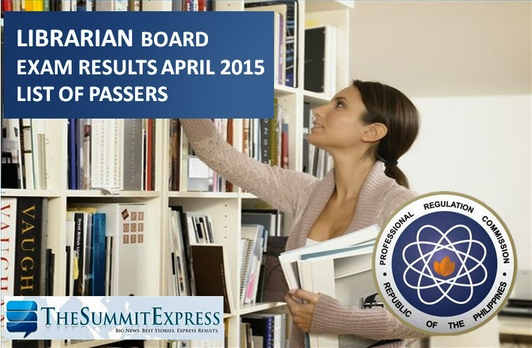 April 2015 Librarian board exam results
