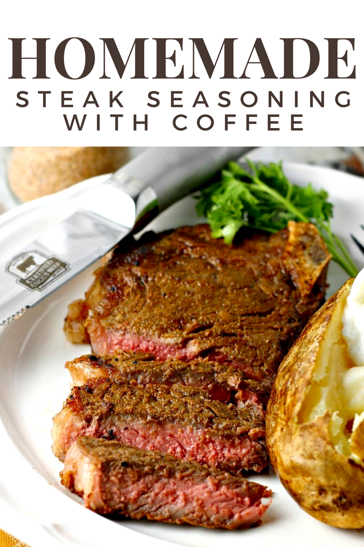 Homemade Coffee Steak Rub | by Renee's Kitchen Adventures - easy homemade recipe for a steak seasoning made with coffee. Perfect on steak, chicken, pork and more! #steakseasoning #steak #seasoning #steakrub #stripsteak #allpurposeseasoning