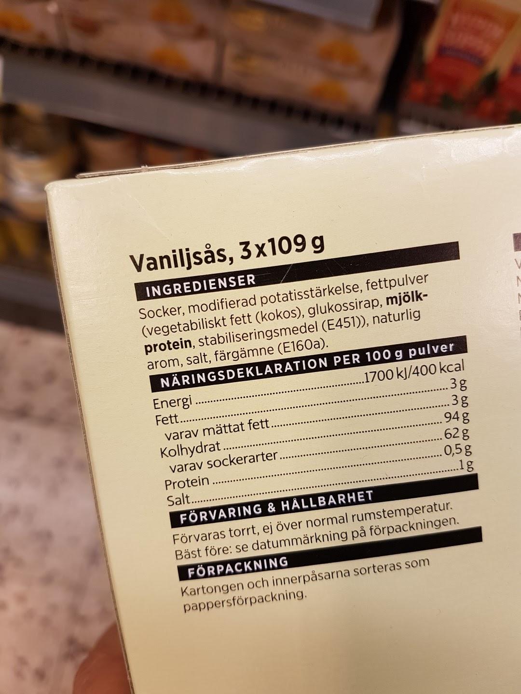 Här är ytterligare ett exempel. Detta är en pulvervariant av vaniljsås  (Icas eget märke). Här är socker första ingrediens vilket innebär att den  till ... e436d56e45463