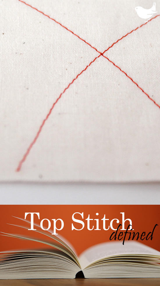Top Stitch: From the visible side of a project, straight- or decorative-stitch on the piece. Similar to Edge-Stitch with the only difference being location, top-stitching is visible on the final project. | The Inspired Wren