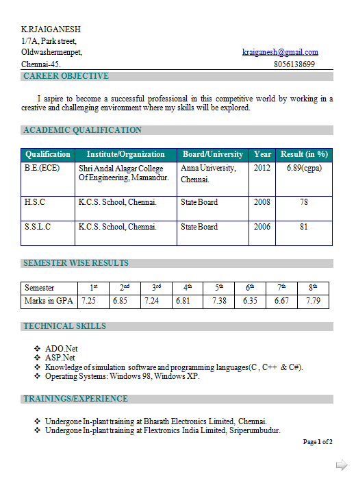Diploma Ece Resume Format Download Pdf Best Resume Examples