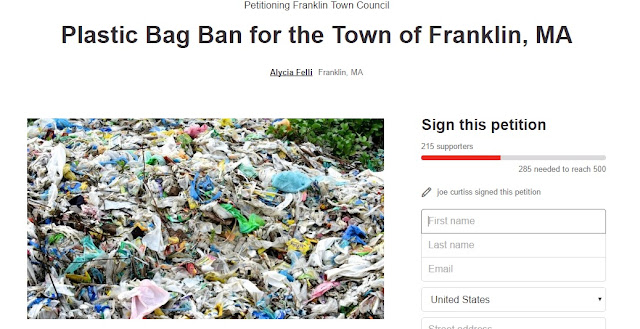 screen grab of petition to ban plastic bags in Franklin, MA