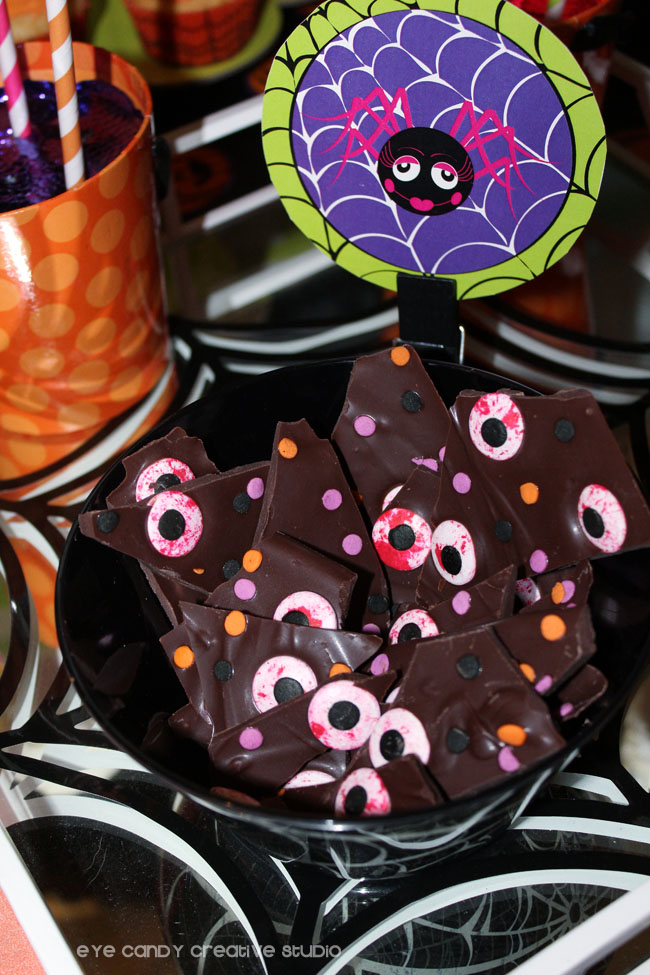 halloween party food, eyeball bark, halloween bark, chocolate bark