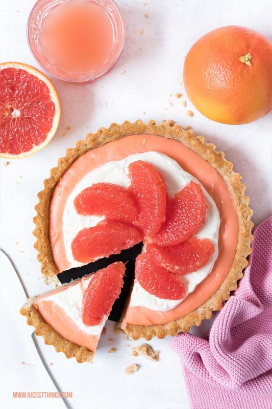 Pink Grapefruit Pie Tarte Kuchen Rezept mir Grapefruit Curd