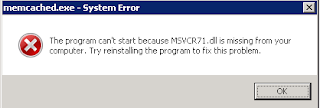 The program can't start because MSVCR71.dll is missing from your computer.
