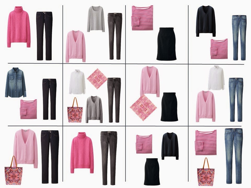 10 item wardrobe - pink denim monochrome