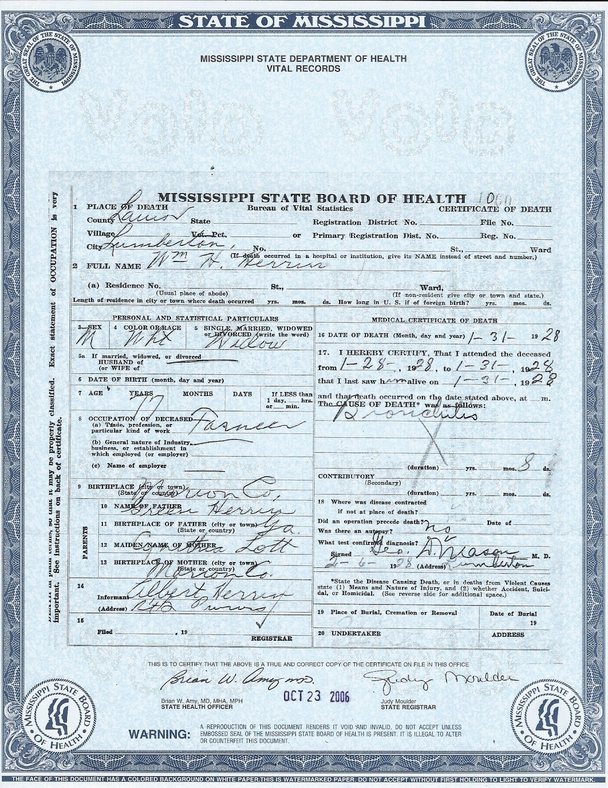 The family snoop death certificate william h herrin death certificate william h herrin xflitez Images