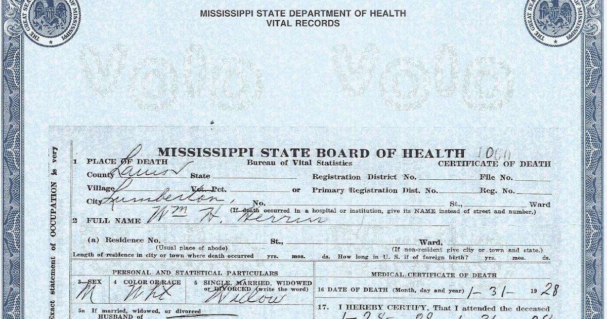 The Family Snoop Death Certificate William H Herrin