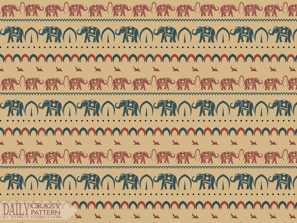Ethnic pattern with elephants